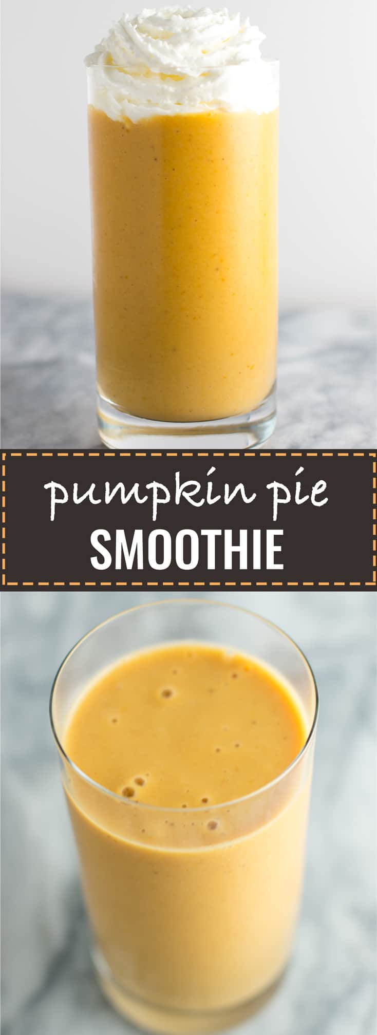 Healthy pumpkin pie smoothie recipe – tastes just like the classic dessert but WAY healthier for you! #pumpkinpie #healthypumpkinpie #smoothie #pumpkinpiesmoothie