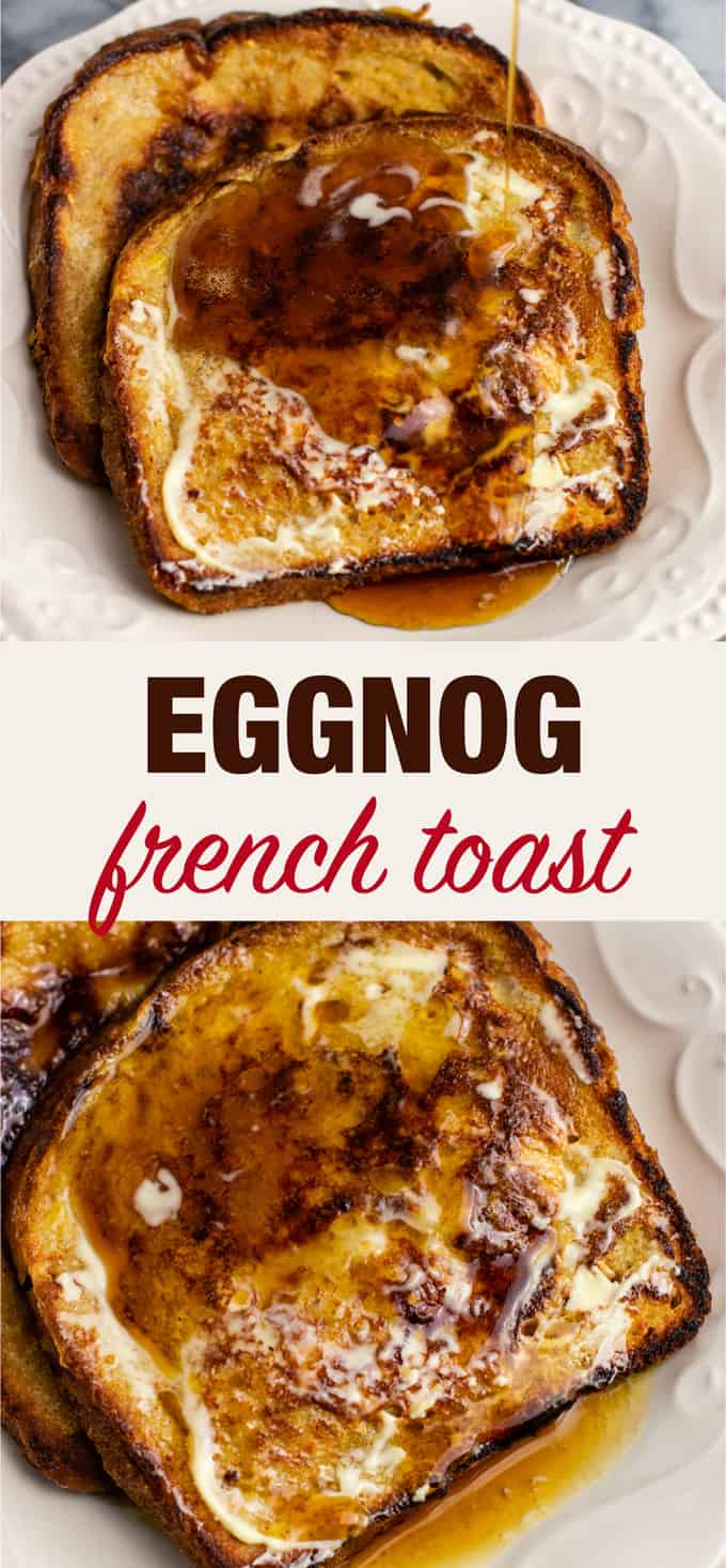 Easy and delicious dairy free eggnog French toast recipe. Only takes 5 minutes to prep and everyone loved it! #eggnog #frenchtoast #dairyfree #breakfast #christmas