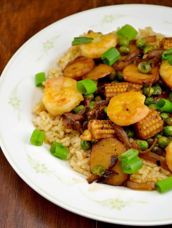 Healthy Teriyaki Shrimp Stirfry