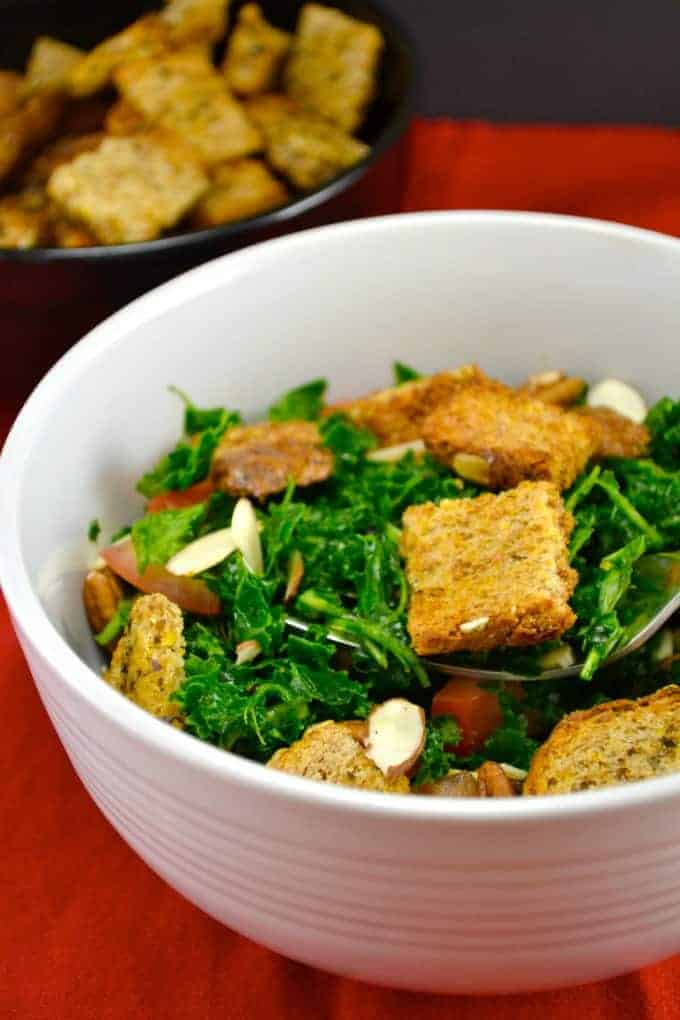 Shredded Sweet Kale Salad with Homemade Croutons