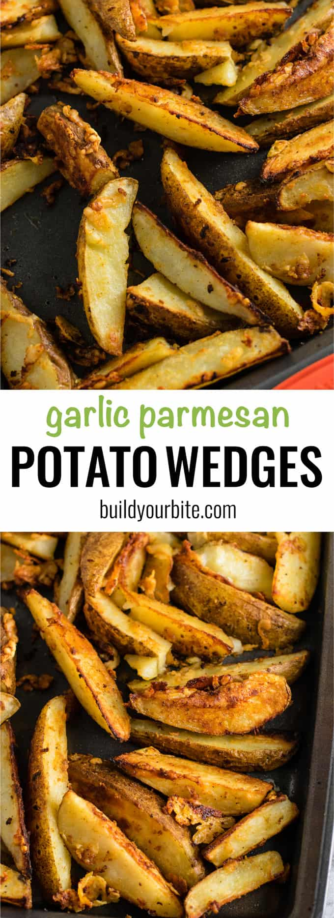 Baked garlic parmesan potato wedges - freshly grated parmesan gives these those amazing crispy edges. Perfect easy side dish! #garlicparmesan #potatowedges #sidedish #vegetarian #parmesan #dinner