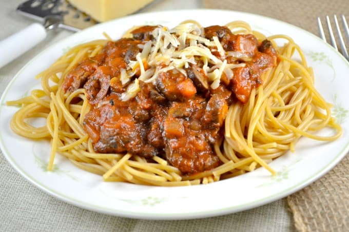 loaded veggie meatless spaghetti