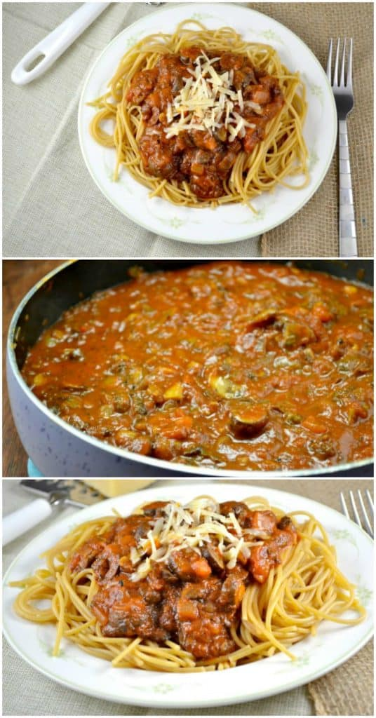 easy meatless spaghetti sauce with whole wheat pasta - easy and healthy vegetarian dinner! #meatless #spaghetti #dinner #healthy #spaghettisauce