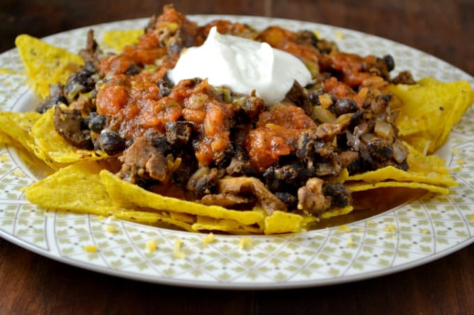 Vegetarian Mushroom and Bean Nachos