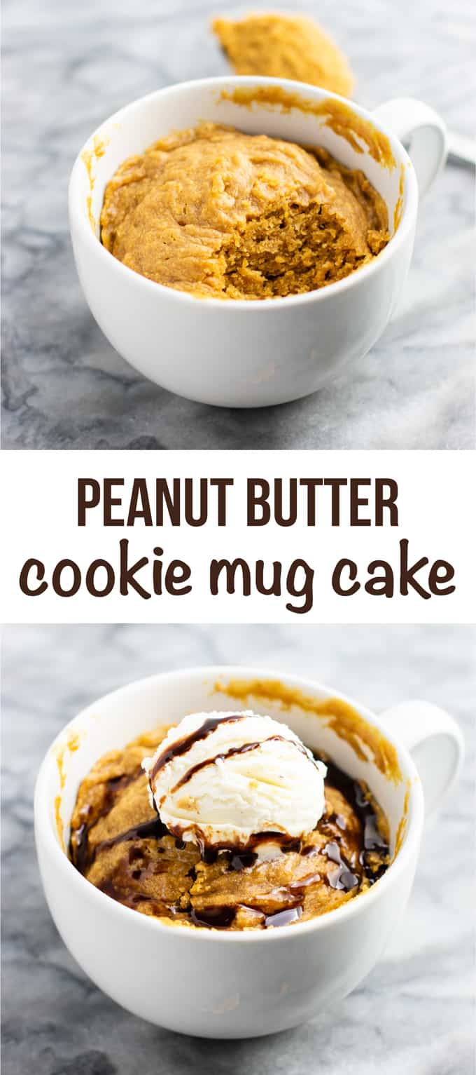 Microwave peanut butter cookie in a mug – gluten free dairy free, and refined sugar free! This tastes amazing and is so good with ice cream! #dessert #glutenfree #dairyfree #mugcake #peanutbuttercookie #peanutbuttermugcake