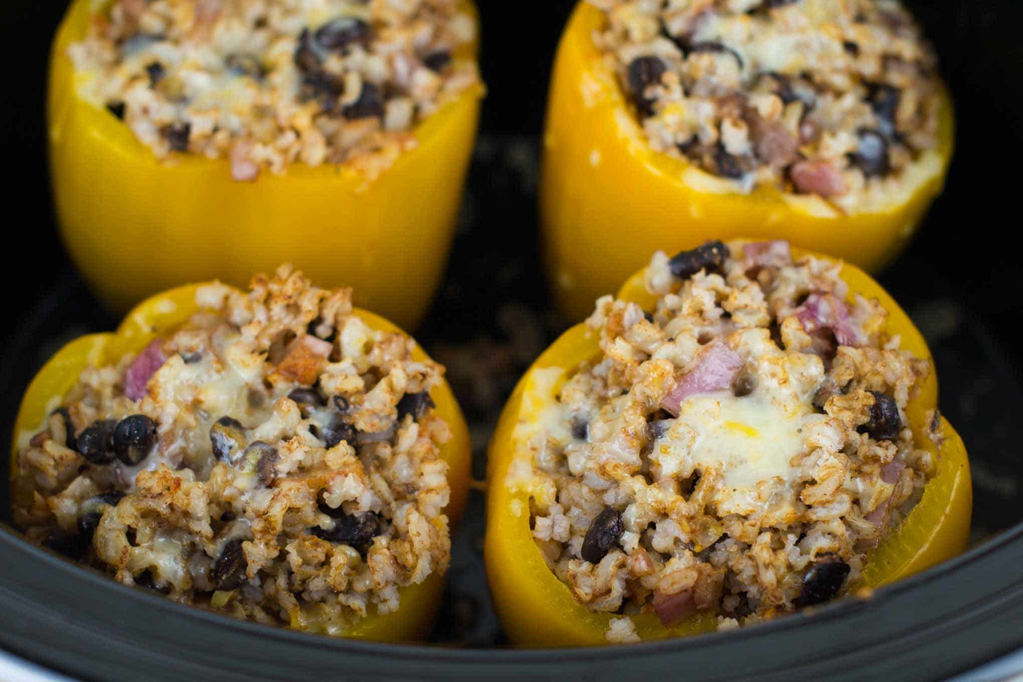 easy vegetarian crockpot stuffed peppers