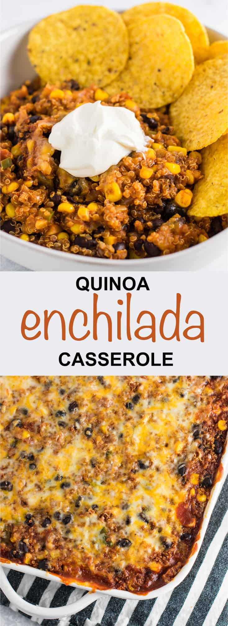 This Mexican quinoa enchilada bake is packed full of veggies and flavor. Cheesy lightened up comfort food. You'll love this recipe! #meatless #quinoa #quinoaenchilada #mexican #casserole #vegetarian #dinner