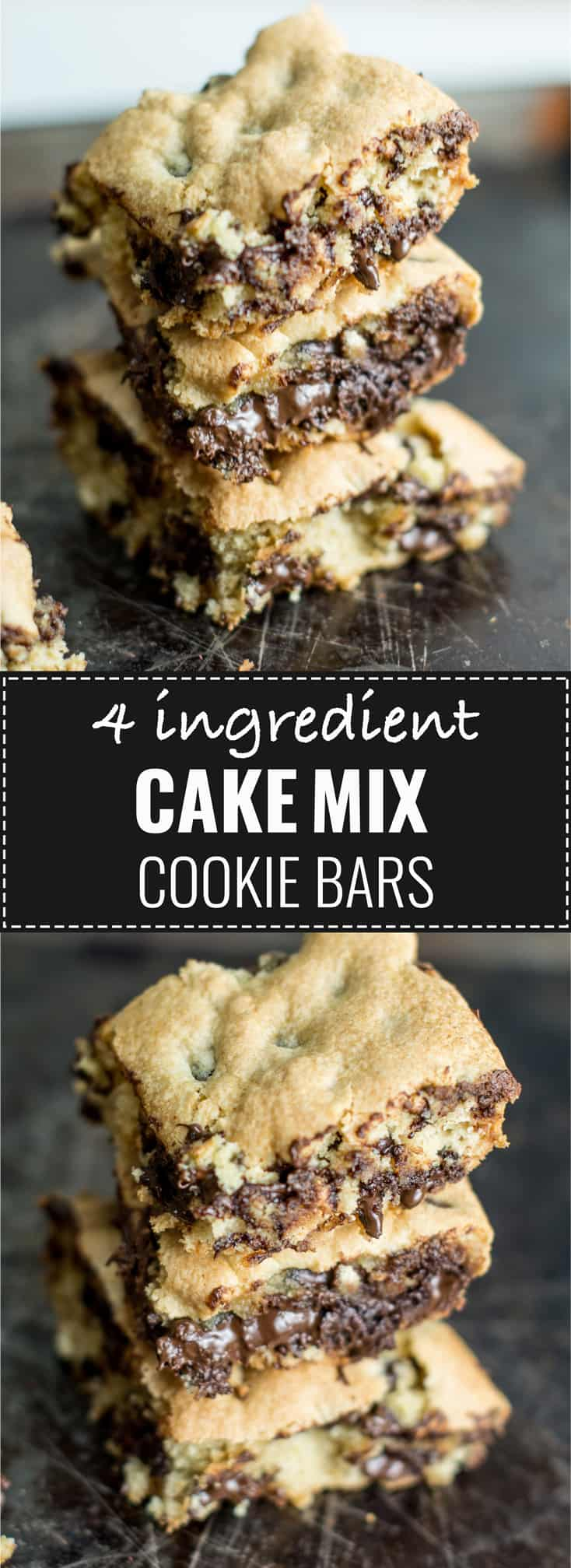 4 ingredient cake mix cookie bars - these are always a hit! #desserts #cakemixcookie #cakemixcookiebars #easydessert