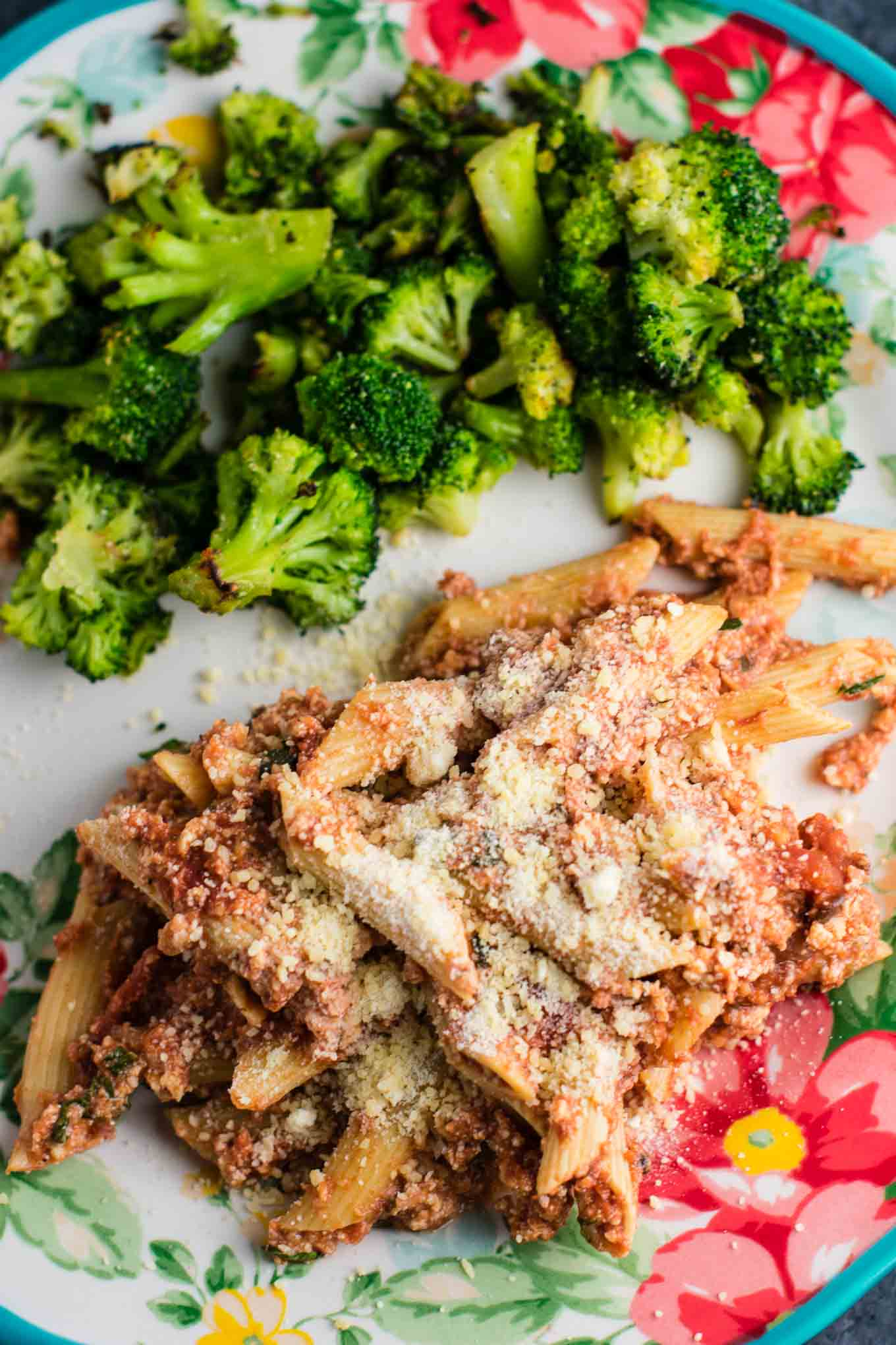 crock pot ziti and roasted broccoli on a plate