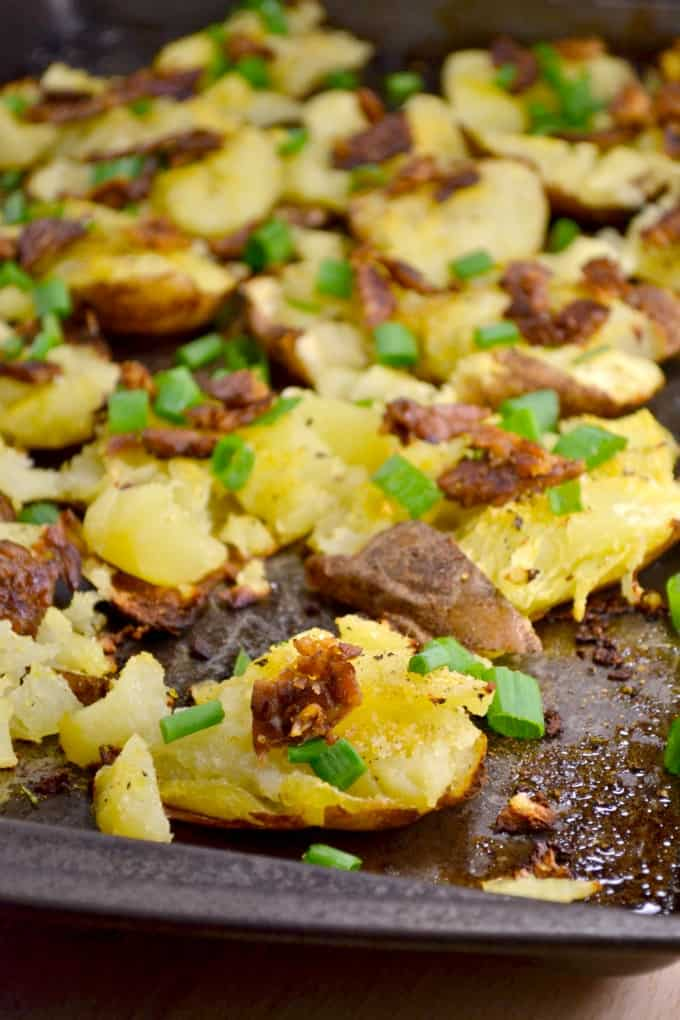 vegan smashed potatoes with maple tempeh bacon