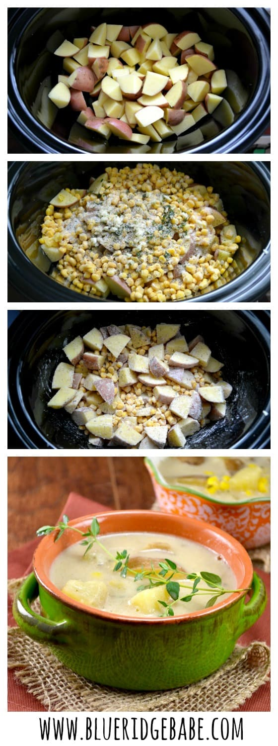 slow cooker vegetarian corn chowder - super easy to make and the whole family will love it!