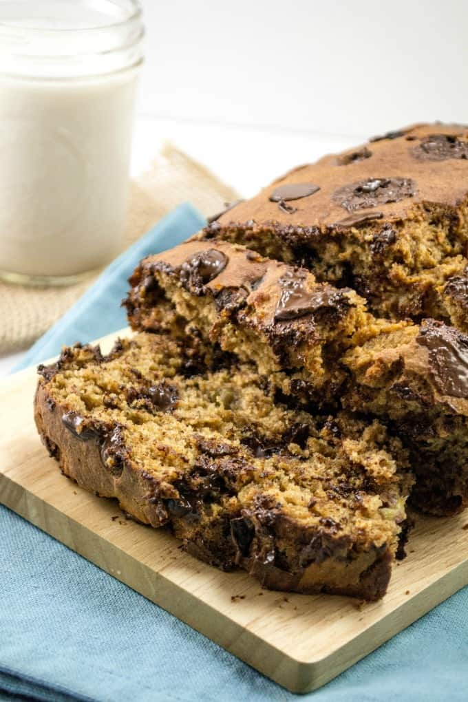 Whole Wheat Chocolate Chip Banana Bread (dairy free)