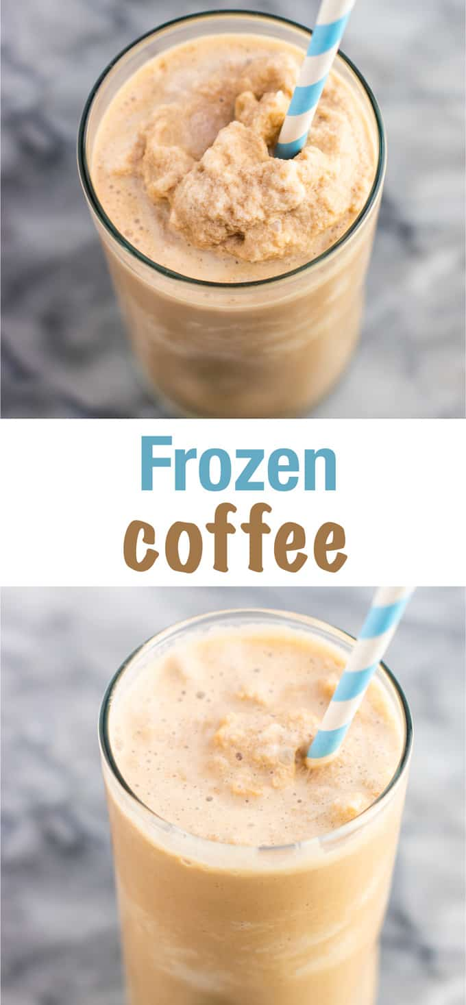 Easy frozen coffee recipe. Make this at home instead of spending $5 at starbucks! So easy and tastes like a treat! #frozencoffee #coffeerecipe #coffee #icedcoffee