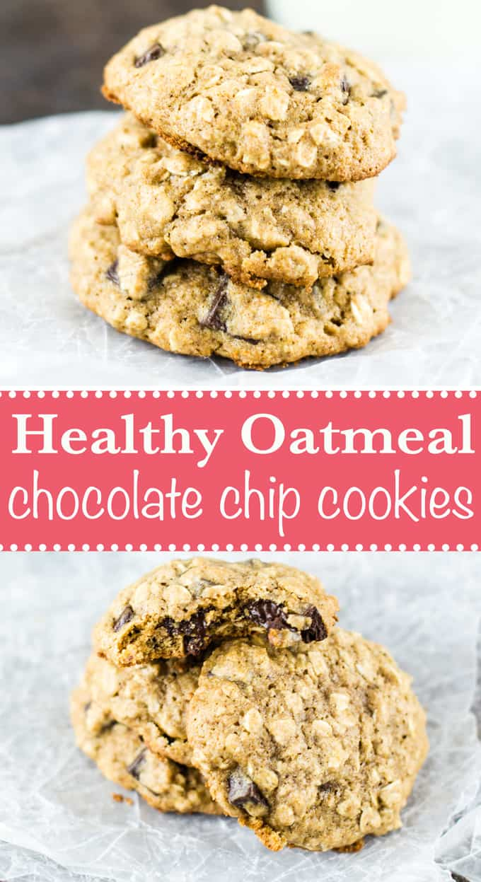 The best soft and chewy healthy oatmeal chocolate chip cookie recipe - these are amazing! #oatmealchocolatechip #cookies