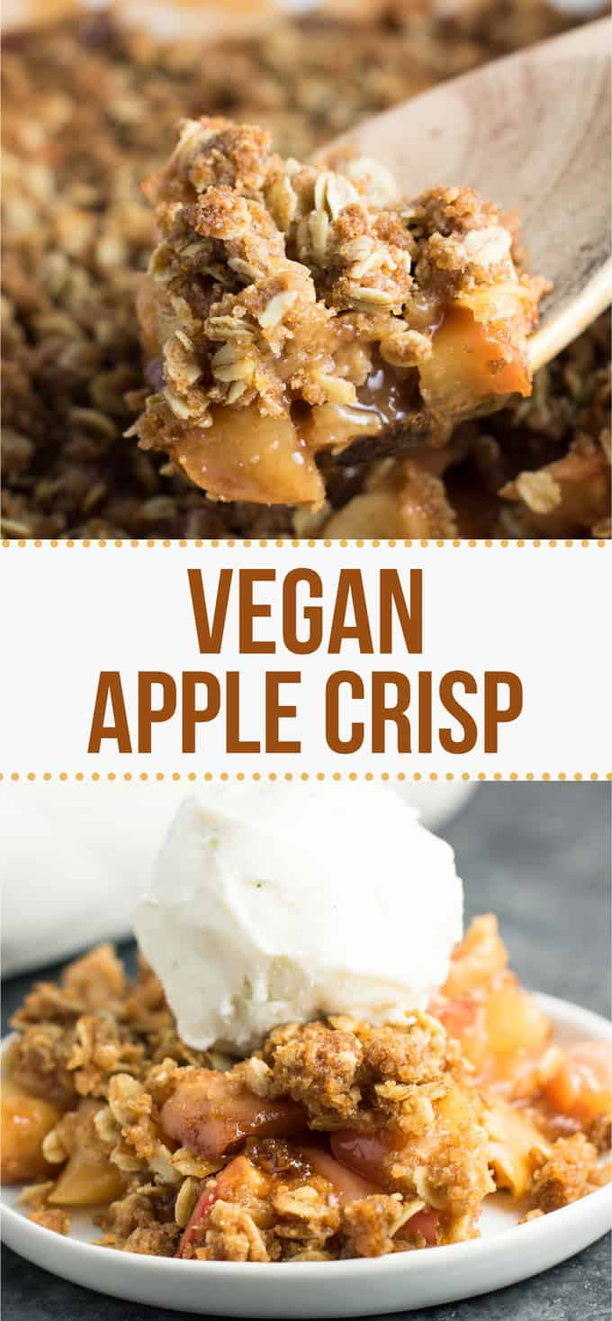 The best vegan apple crisp recipe - so easy to make and everybody loves it! #vegan #applecrisp #applecrispdessert #dessert #healthy #vegandessert