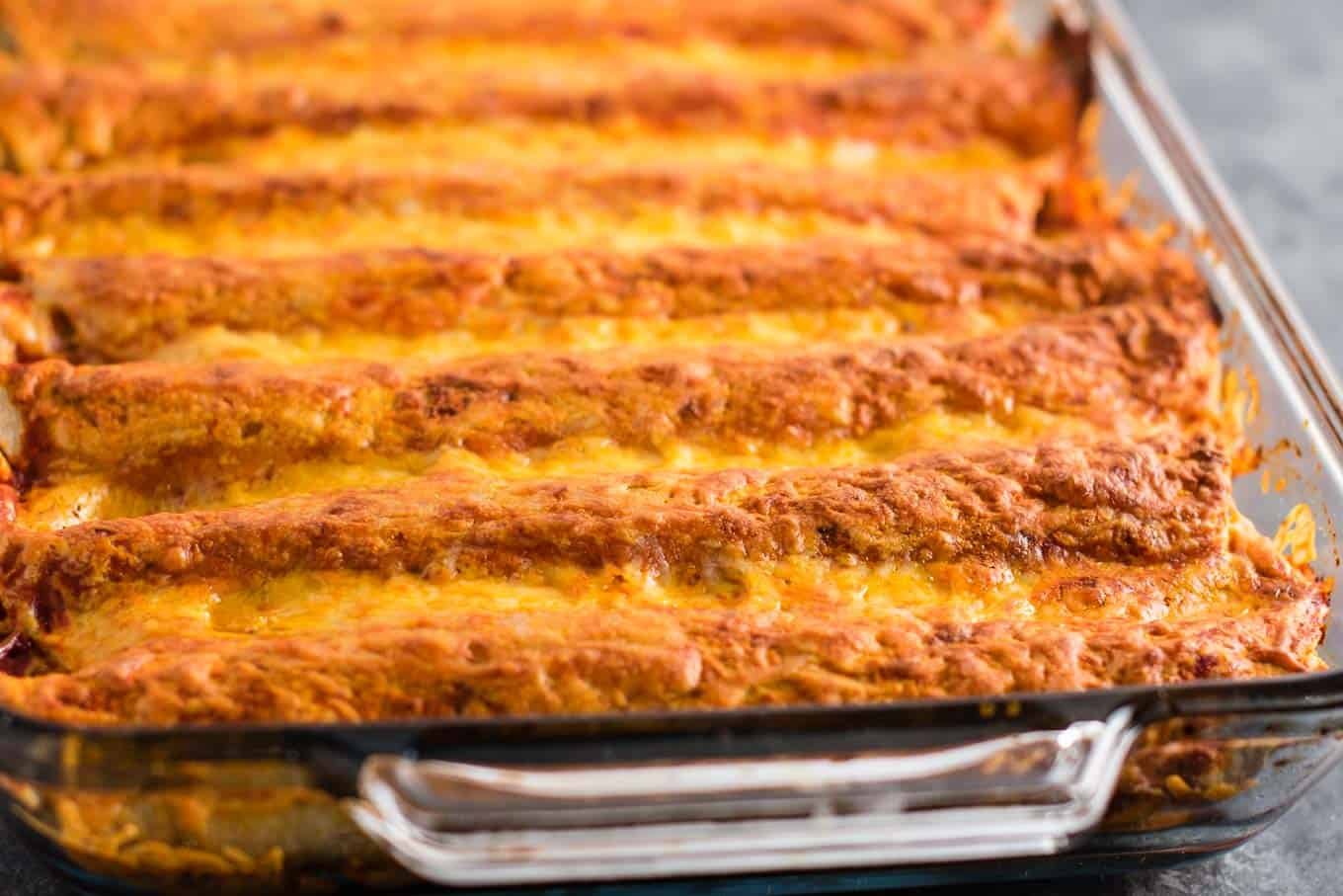 enchiladas with refried beans