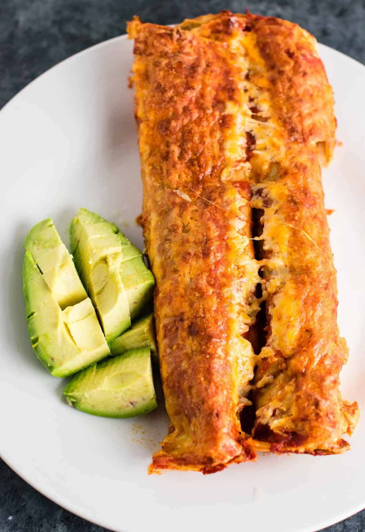refried bean enchiladas - easy meatless mexican recipe. Made with homemade refried beans and mushrooms.