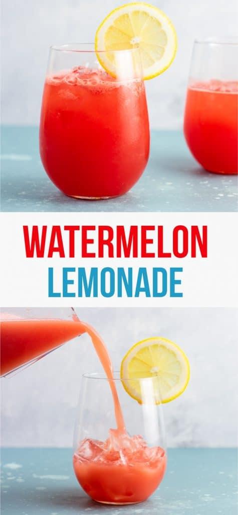 Sparkling watermelon lemonade recipe (naturally sweetened) refreshing summer drink! #watermelon #lemonade #watermelonlemonade #healthydrink #summerdrink #easyrecipe #watermelondrink