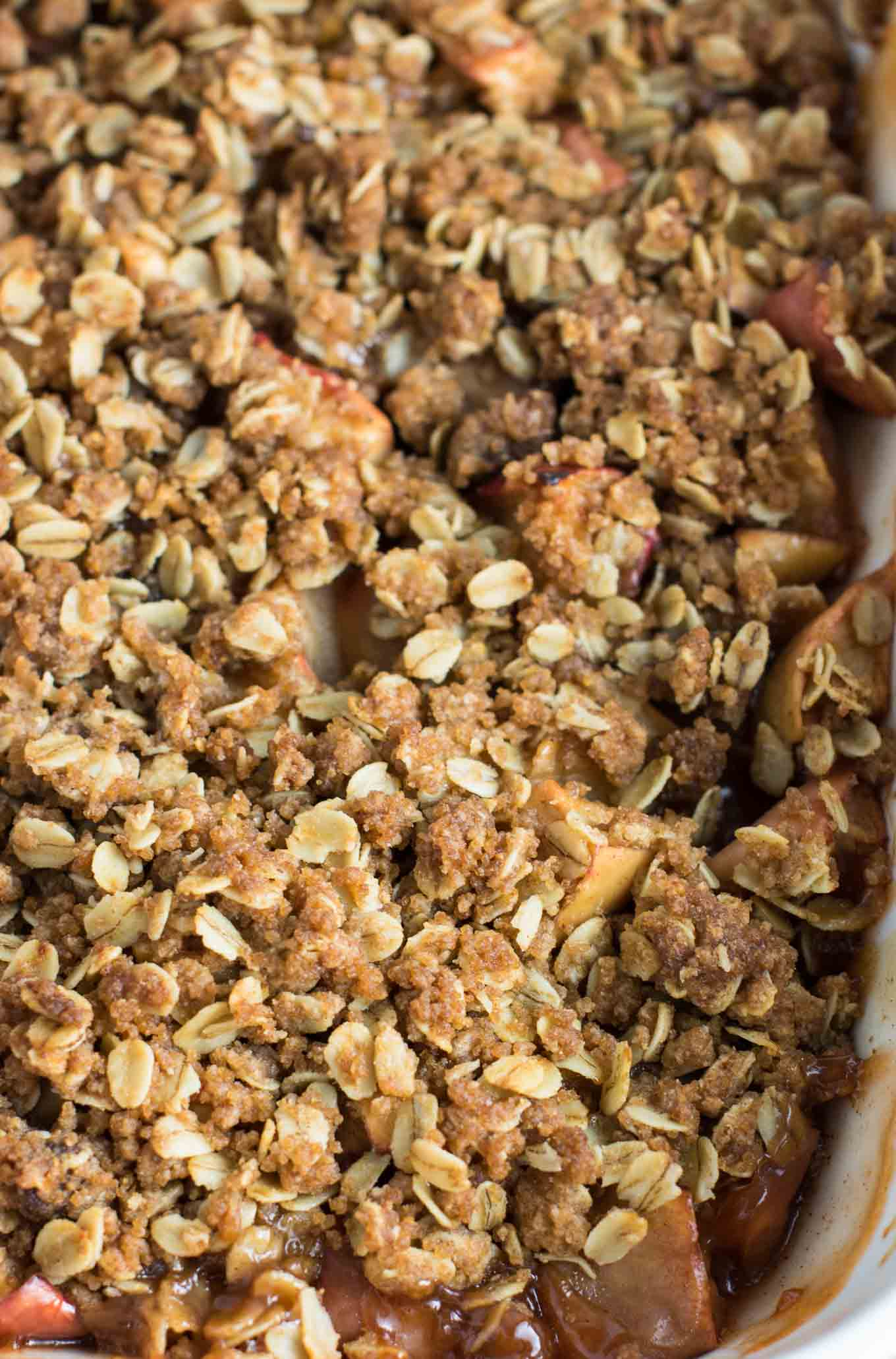 vegan apple crisp finished in the baking dish