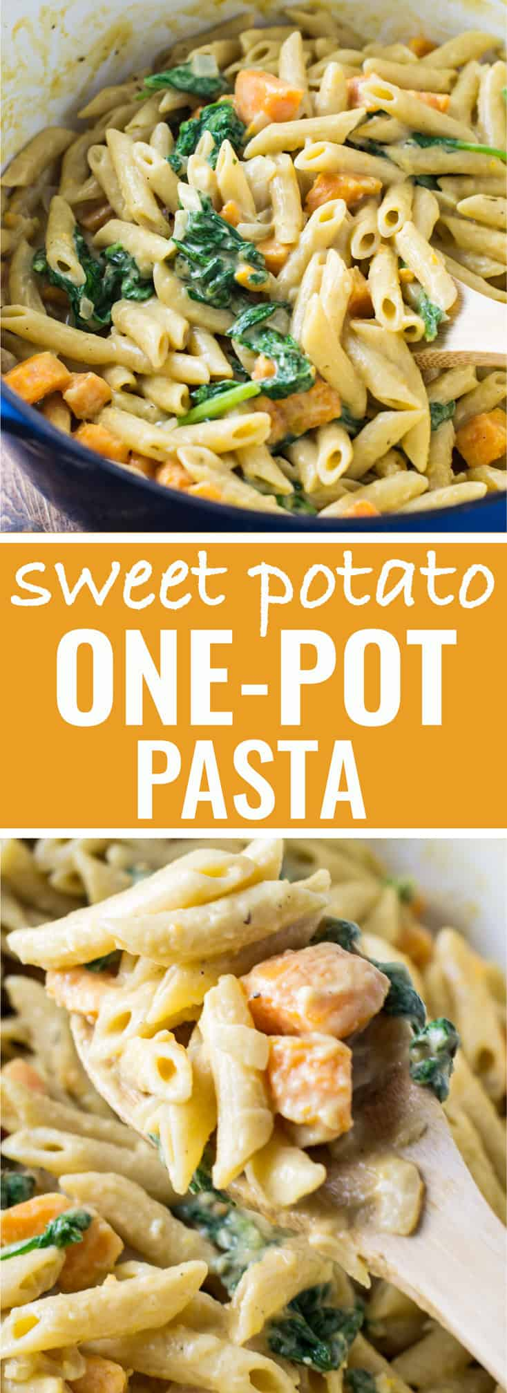 Ultra creamy One pot sweet potato and spinach recipe. You will be fighting over the leftovers! #vegetarian #onepot #sweetpotato
