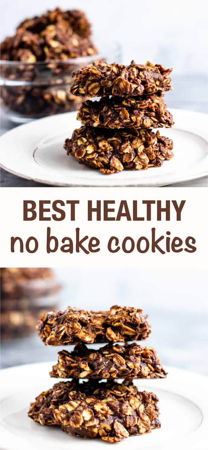 The BEST healthy no bake cookies (vegan, gluten free) Perfectly fudgy and so healthy and easy to make! Perfect for a Christmas treat. #nobakecookies #healthydessert #vegan #glutenfree #christmas #healthynobakecookies