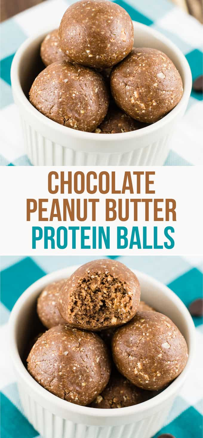 Healthy chocolate peanut butter protein balls - perfect no bake dessert or snack! #nobake #proteinballs #chocolate #peanutbutter #dessert #snack #protein
