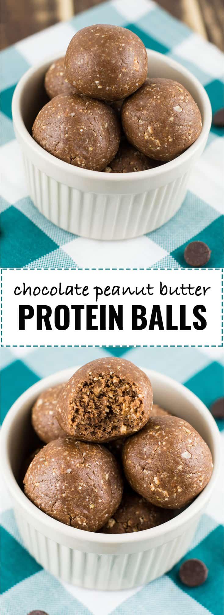 chocolate peanut butter protein balls #nobake #proteinballs #healthydessert
