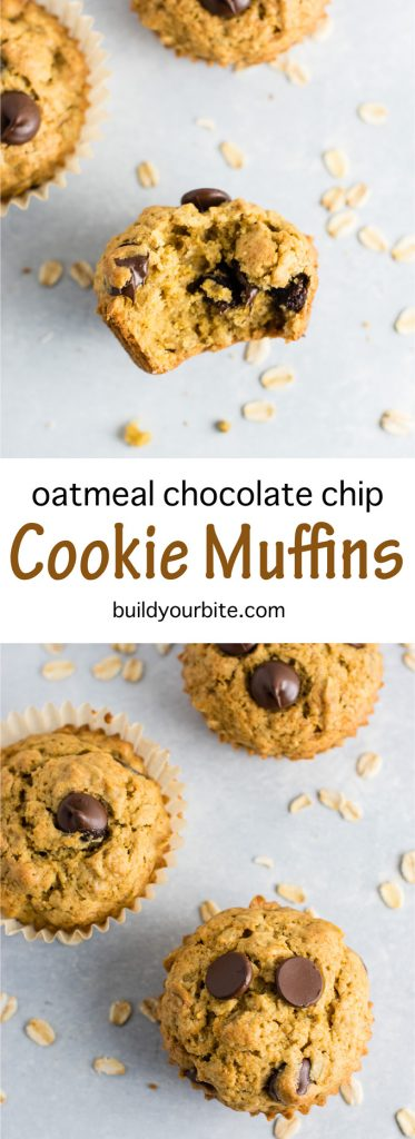 Oatmeal chocolate chip cookie muffins - breakfast that tastes like dessert! #chocolatechipmuffins #healthy #breakfast #wholewheat #oatmealchocolatechip