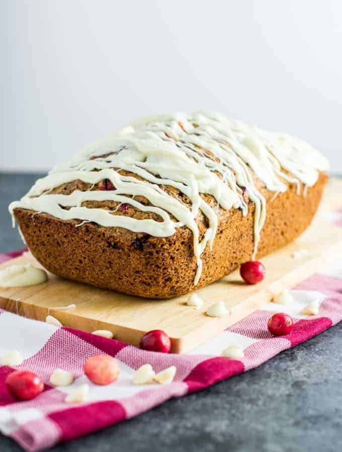 White Chocolate Cranberry Eggnog Bread
