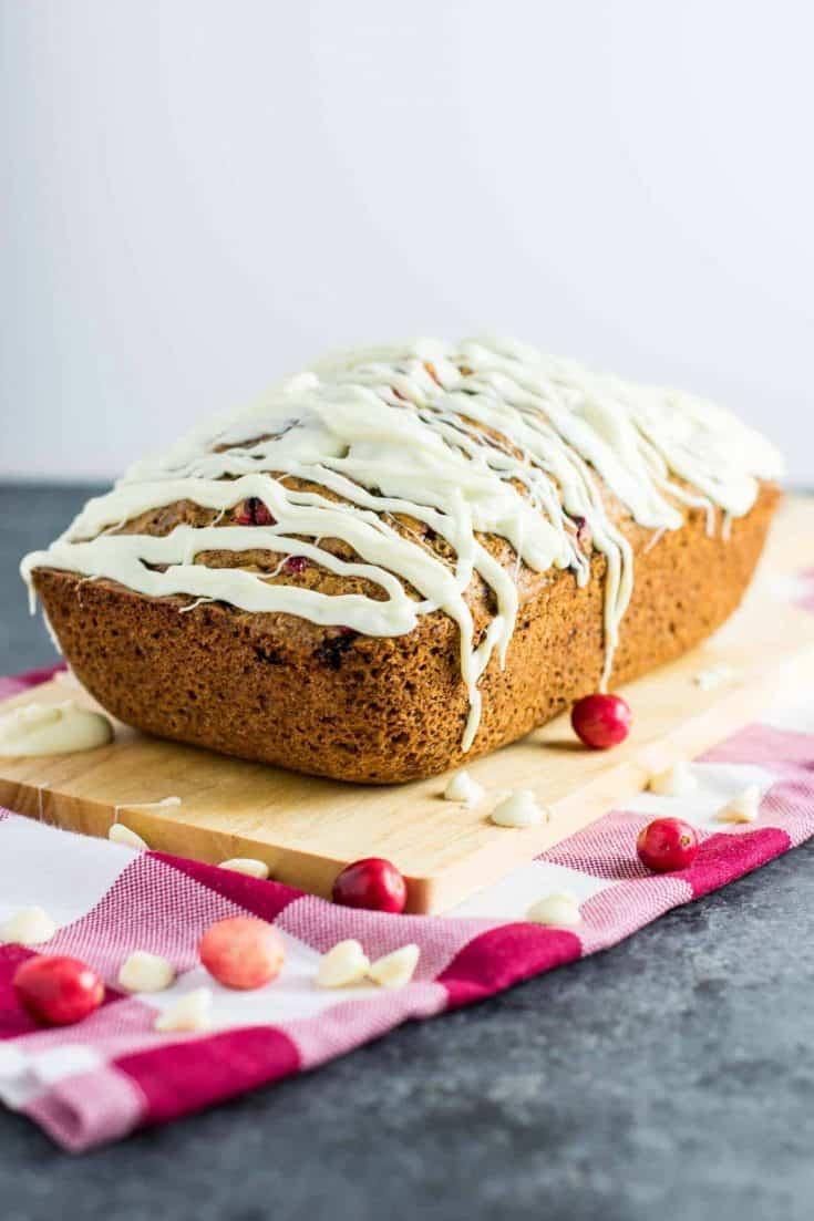 White Chocolate Cranberry Eggnog Bread