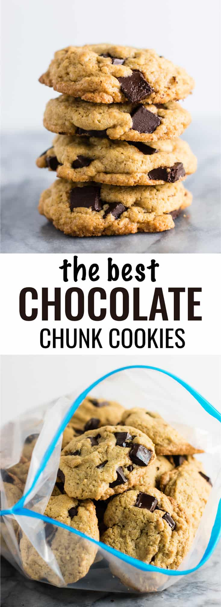 the BEST homemade chocolate chunk cookies! #cookies #chocolatechunk #desserts #dairyfree #wholewheat