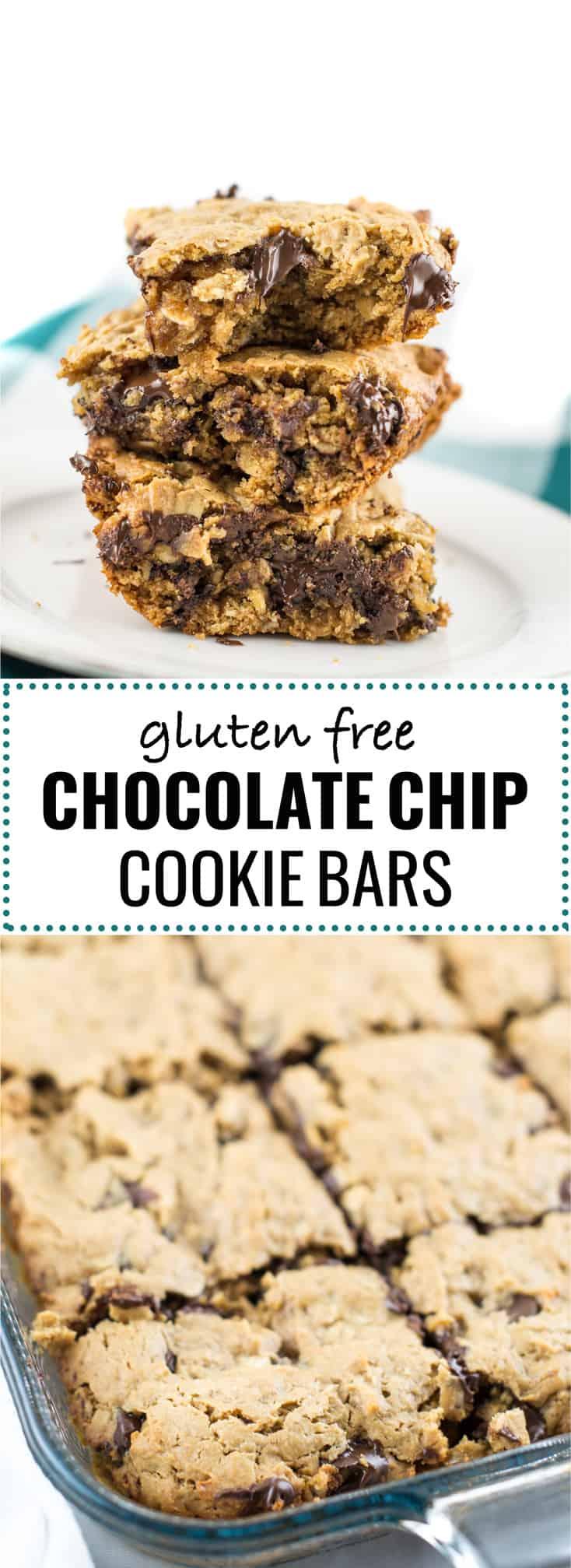 gluten-free oatmeal chocolate chip bars #glutenfree #glutenfreedessert #cookiebars #healthydessert