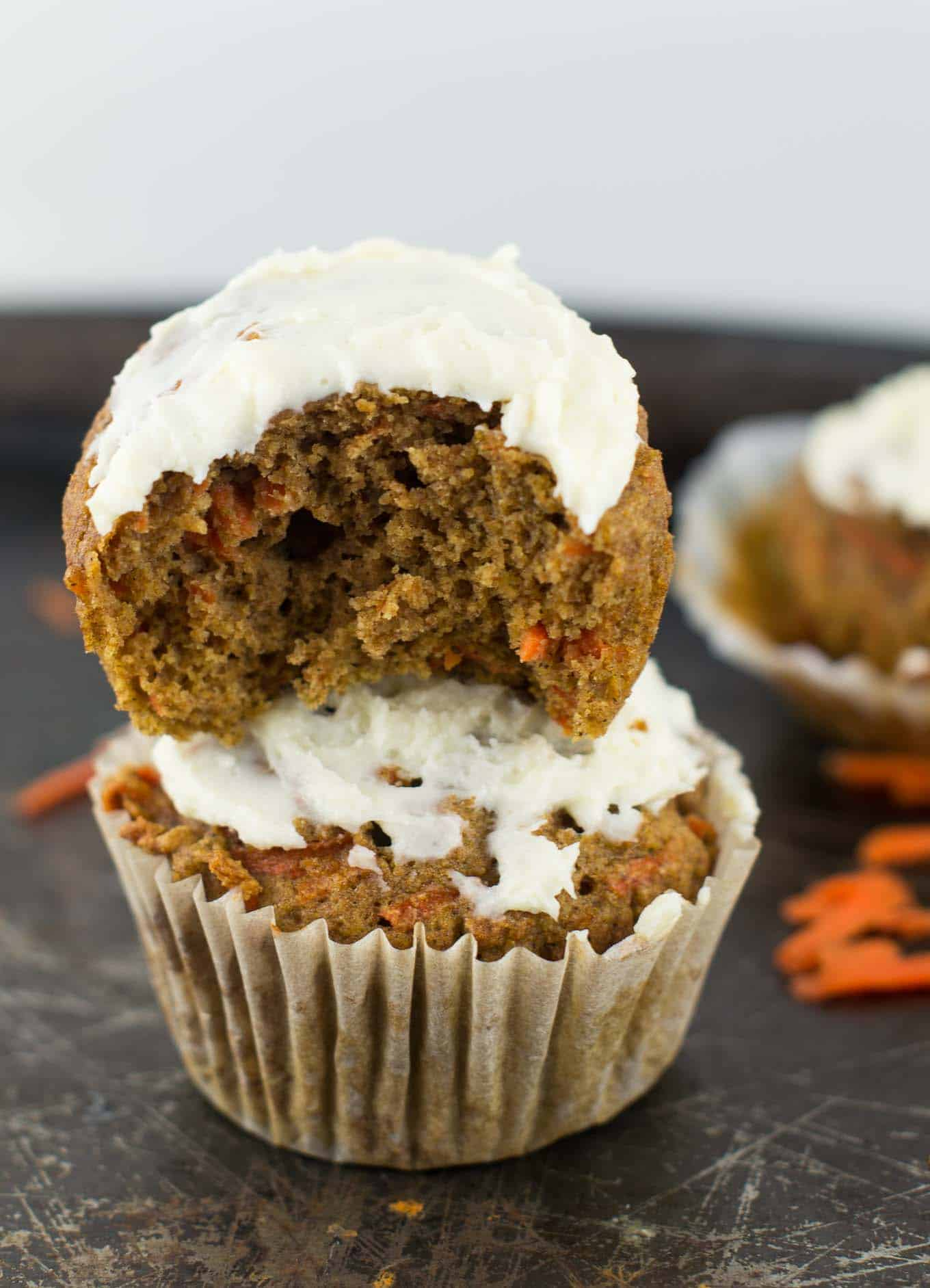 Whole Wheat Carrot Cake Muffins with cream cheese frosting ...