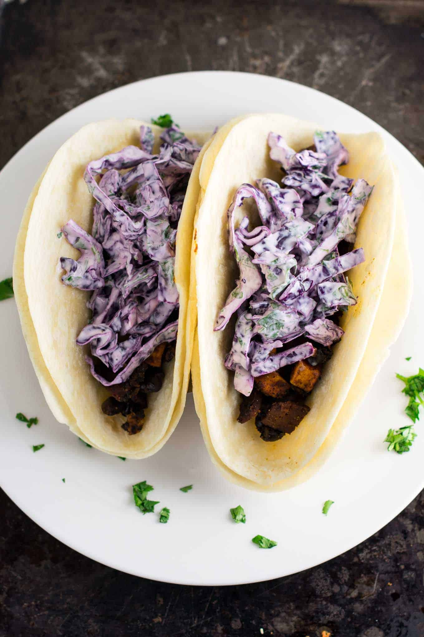 smoky bacon, sweet potato & black bean tacos