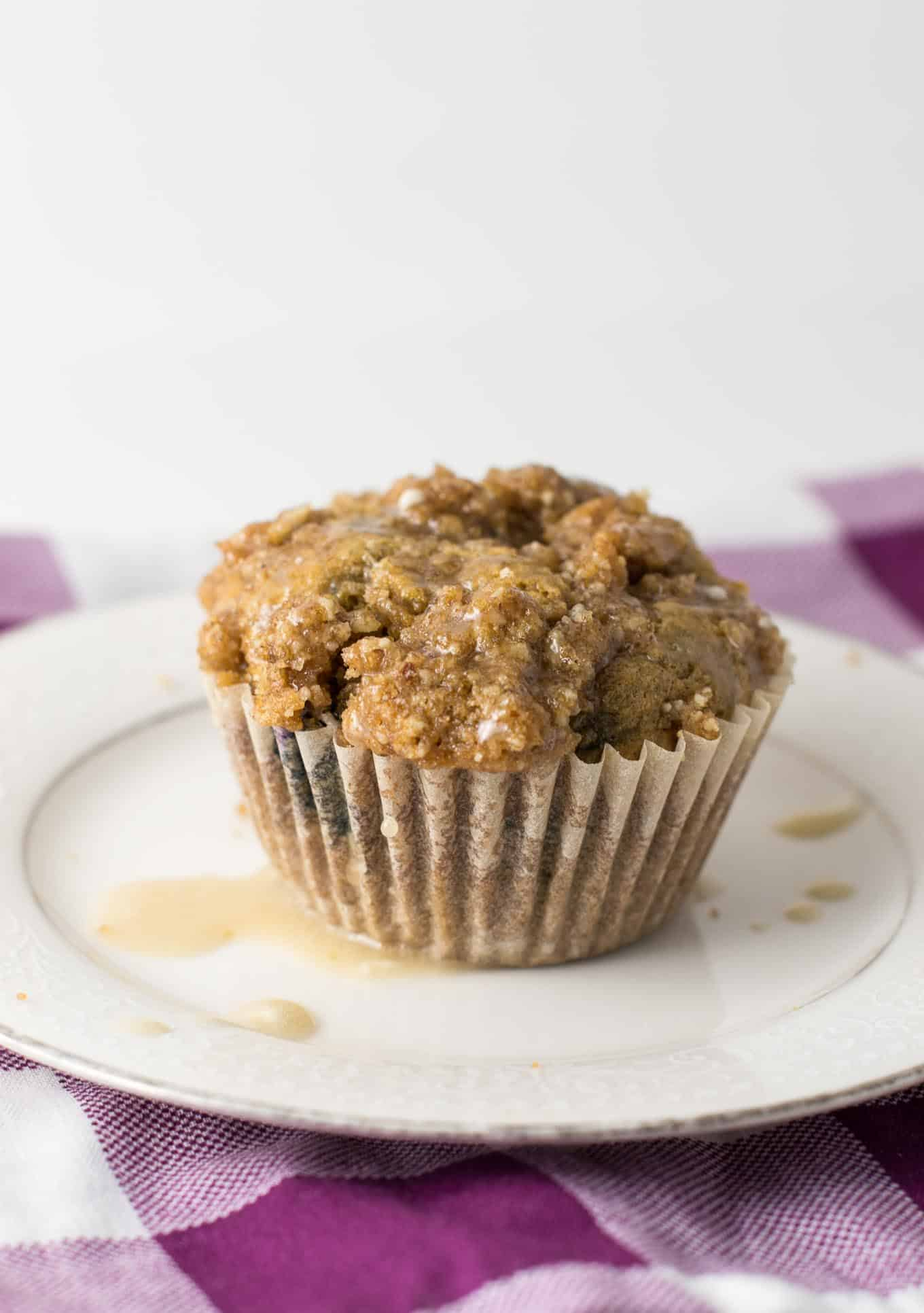 Whole Wheat Blueberry Coffee Cake Muffins - Build Your Bite