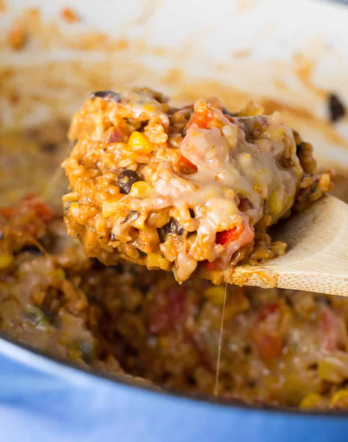 Easy vegetarian cheesy mexican casserole