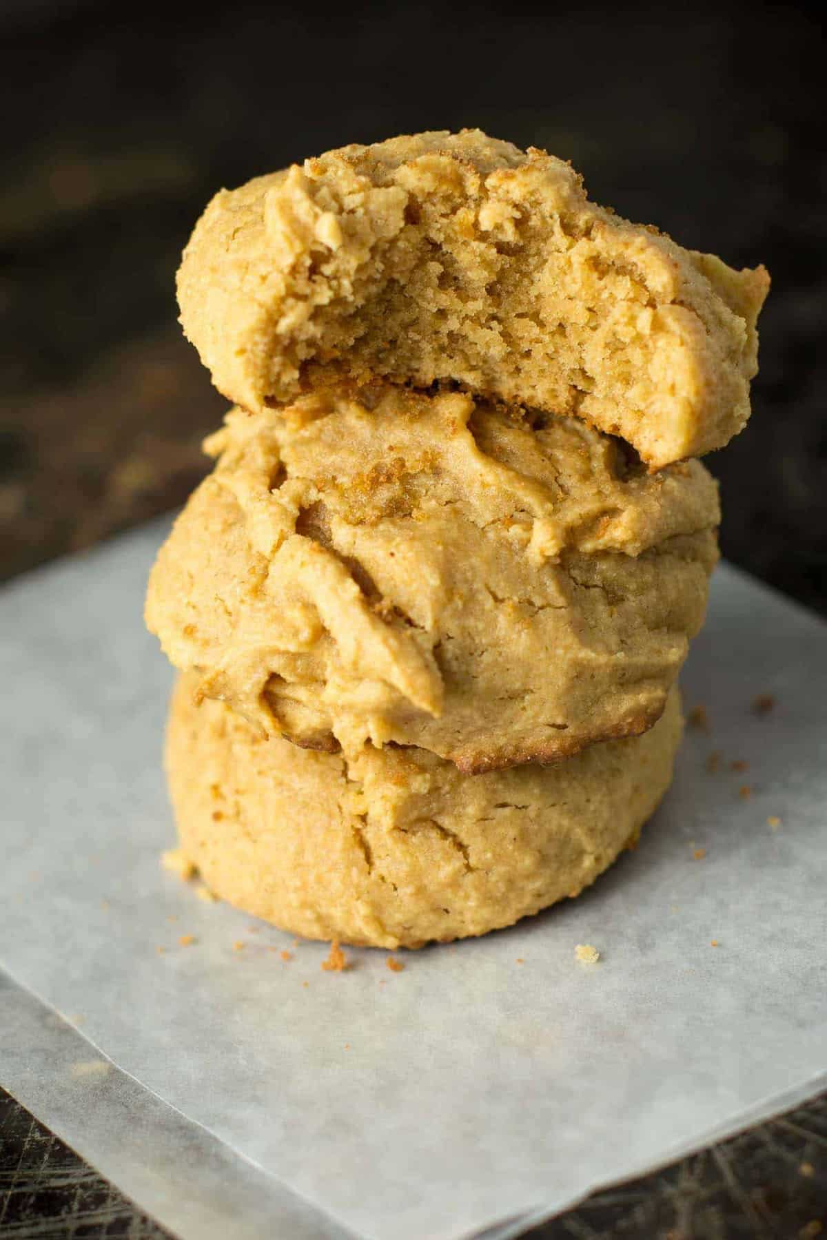 Perfect fluffy peanut butter cookies are an easy gluten free and wholesome dessert. Made with coconut flour, naturally sweetened and made in just one bowl.