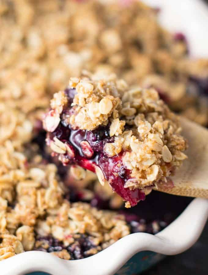 Easy Vegan Blueberry Peach Crisp
