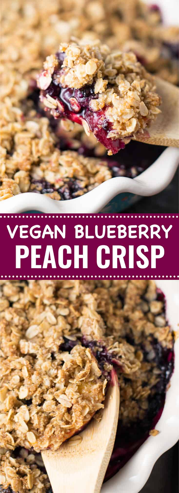 vegan blueberry peach crisp recipe - gluten free