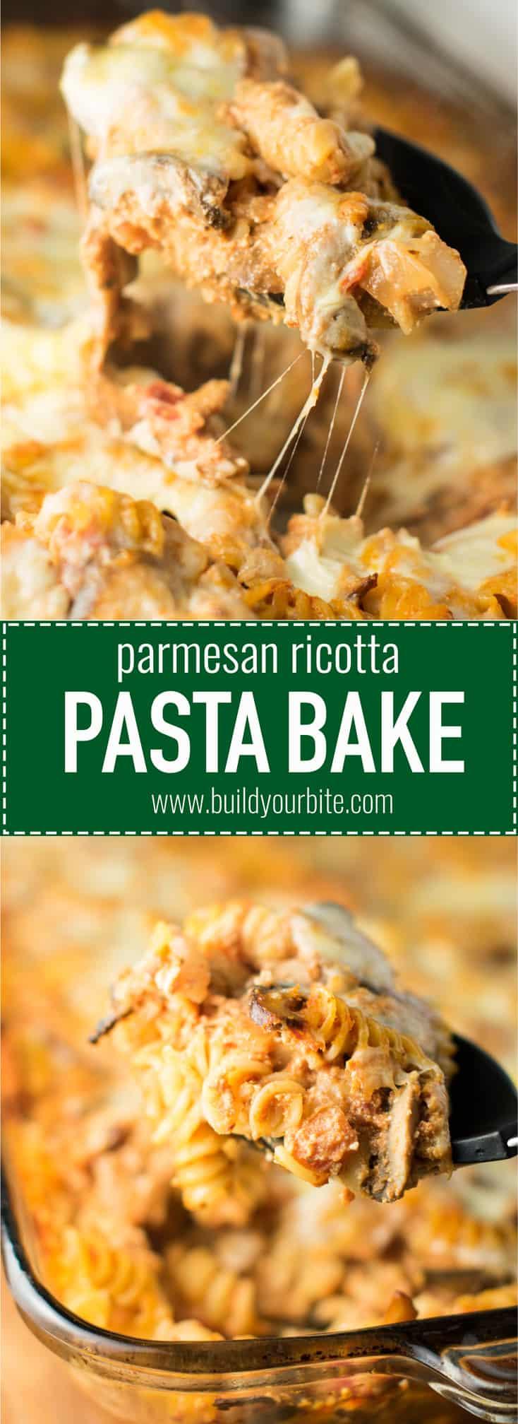 parmesan and ricotta pasta bake #vegetarian #pastabake #rosesauce