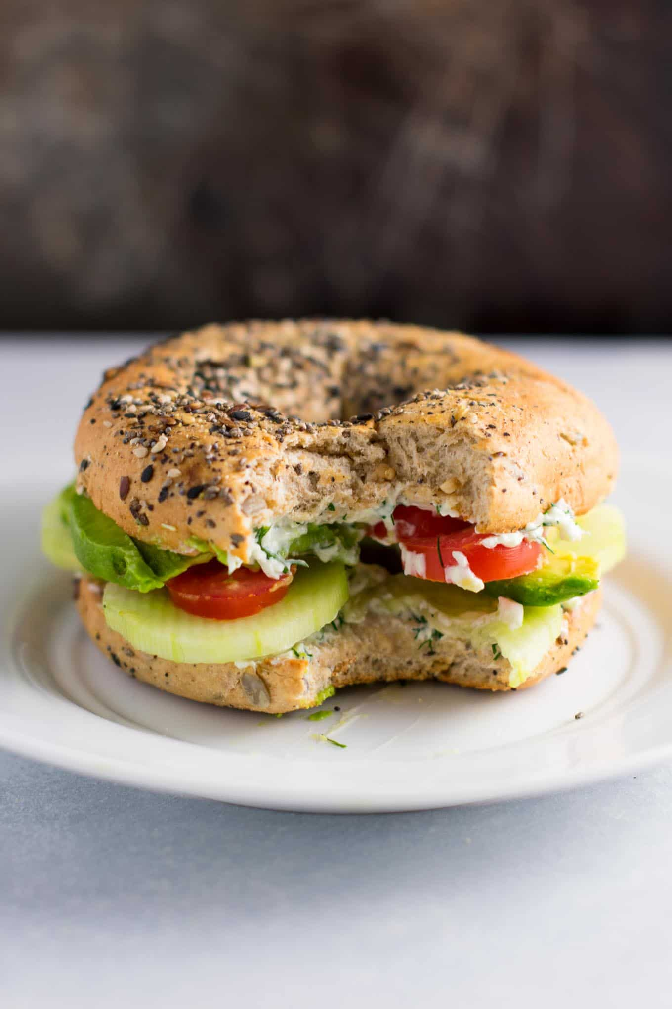 everything bagel veggie sandwiches with garlic dill cream cheese