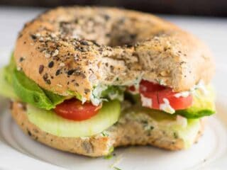 everything bagel veggie sandwiches with garlic dill cream cheese