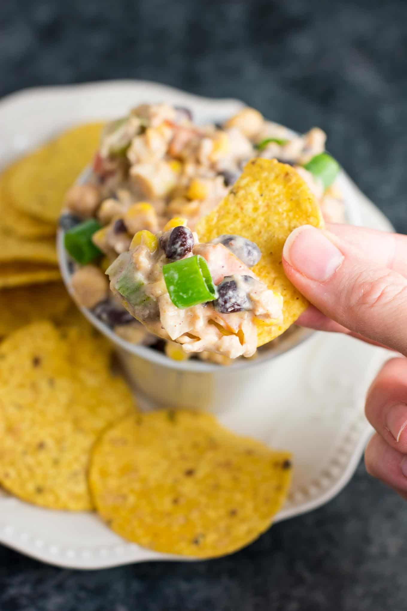 vegetarian mexican recipes: skinny mexican chickpea salad dip - recipe via @buildyourbite