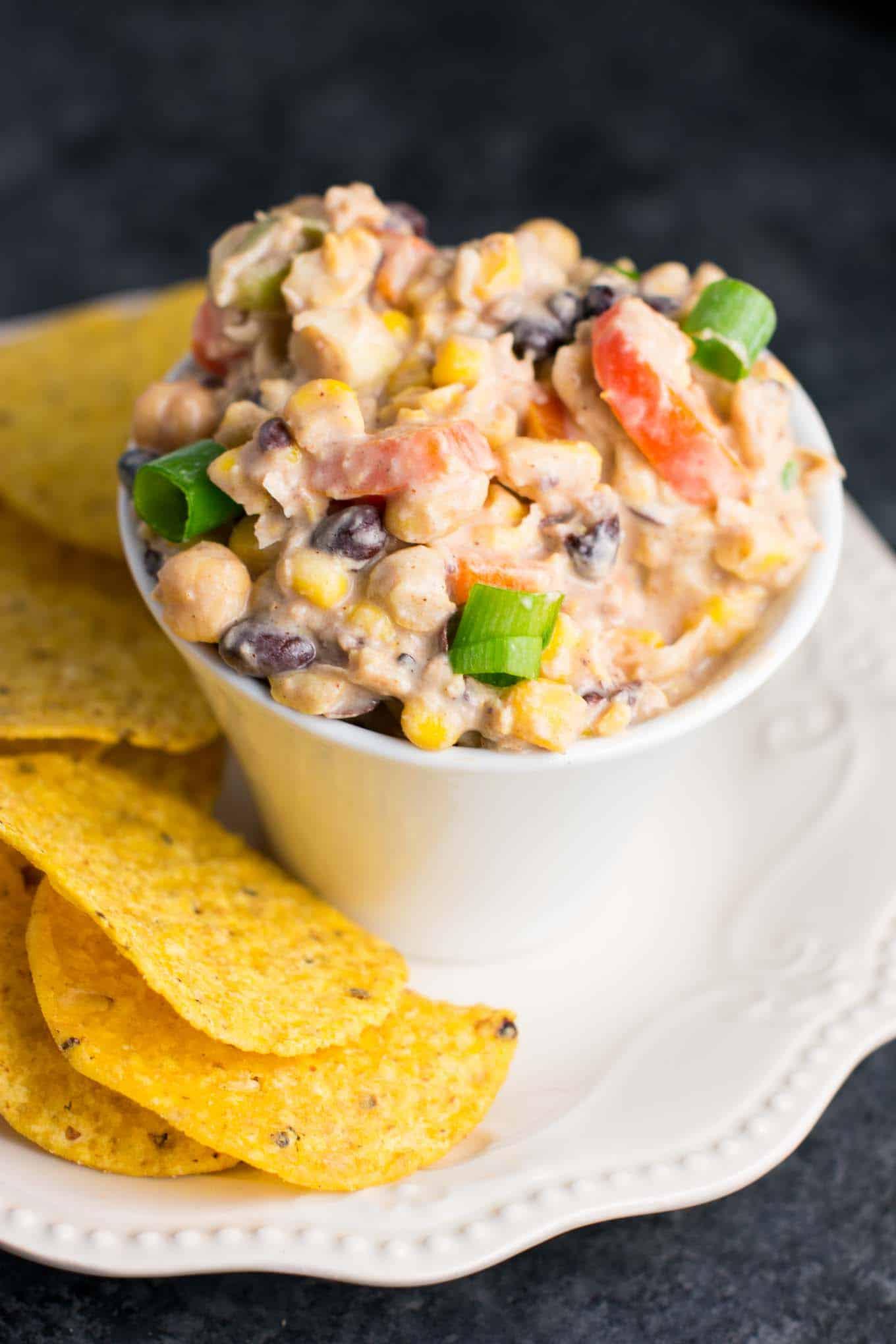 skinny mexican chickpea salad dip - recipe via @buildyourbite