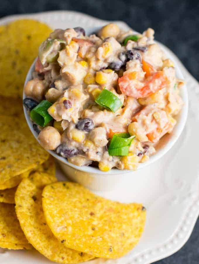 skinny mexican chickpea salad dip - recipe via @buildyourbite