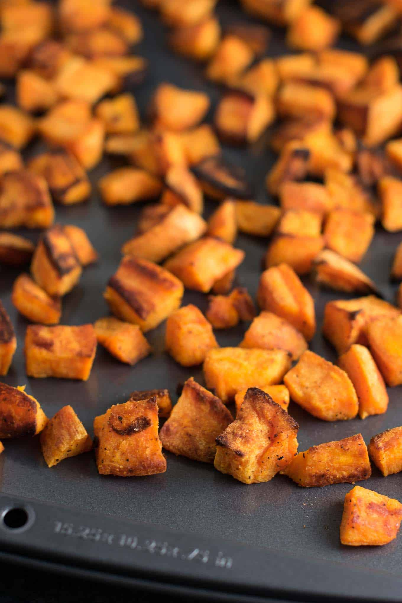 These easy roasted sweet potatoes are made with just 5 ingredients and ready in less than 30 minutes. Versatile enough to eat for any meal of the day!