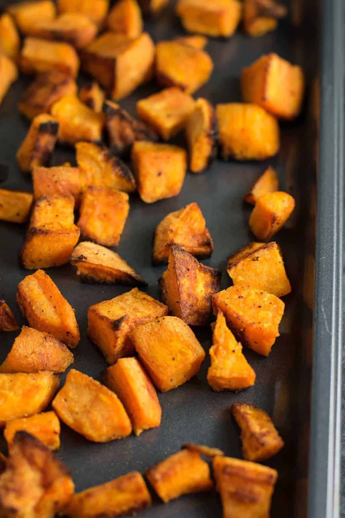 These easy oven roasted sweet potatoes are made with just 5 ingredients and ready in less than 30 minutes. Versatile enough to eat for any meal of the day!