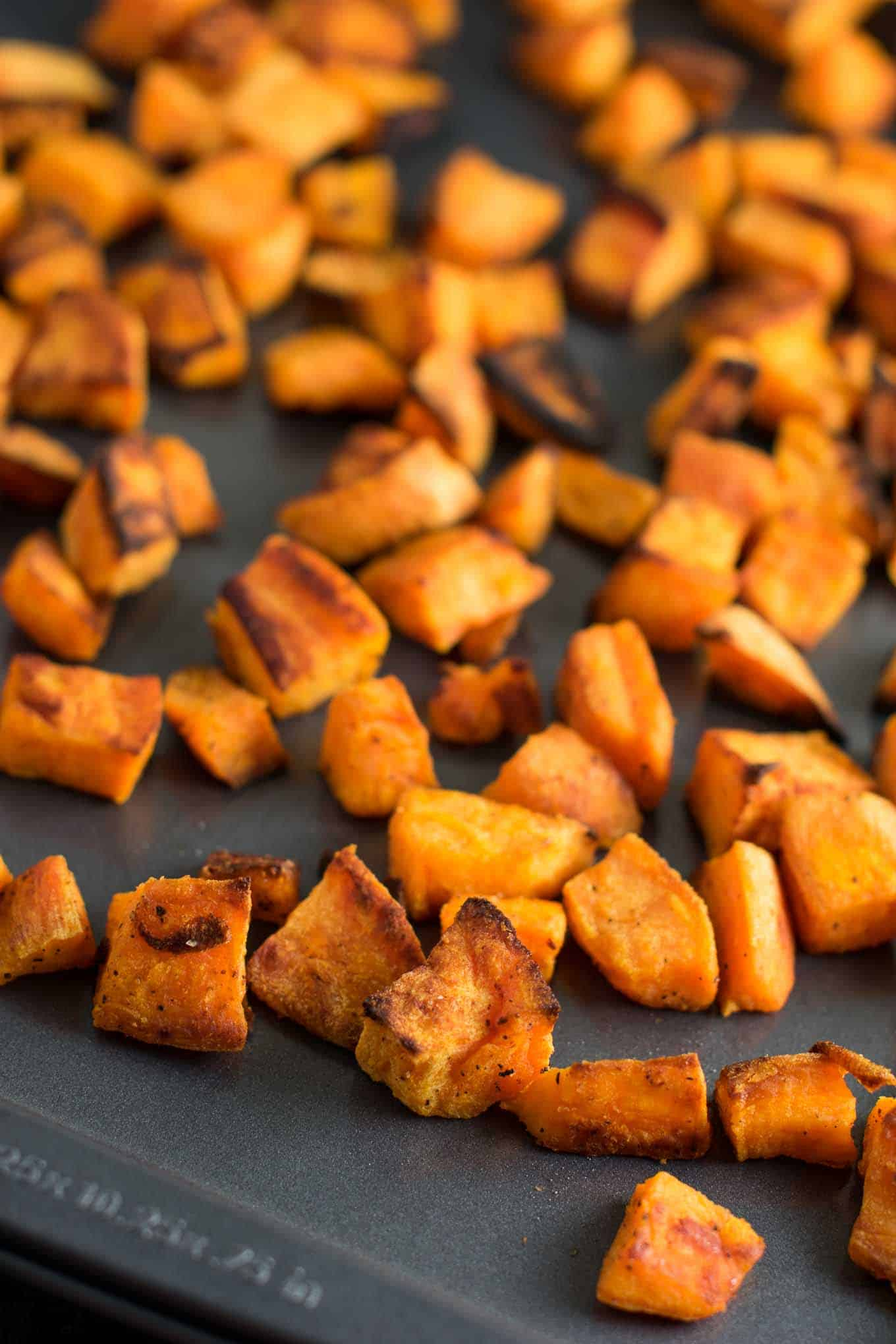These baked sweet potato cubes are made with just 5 ingredients and ready in less than 30 minutes. Versatile enough to eat for any meal of the day!