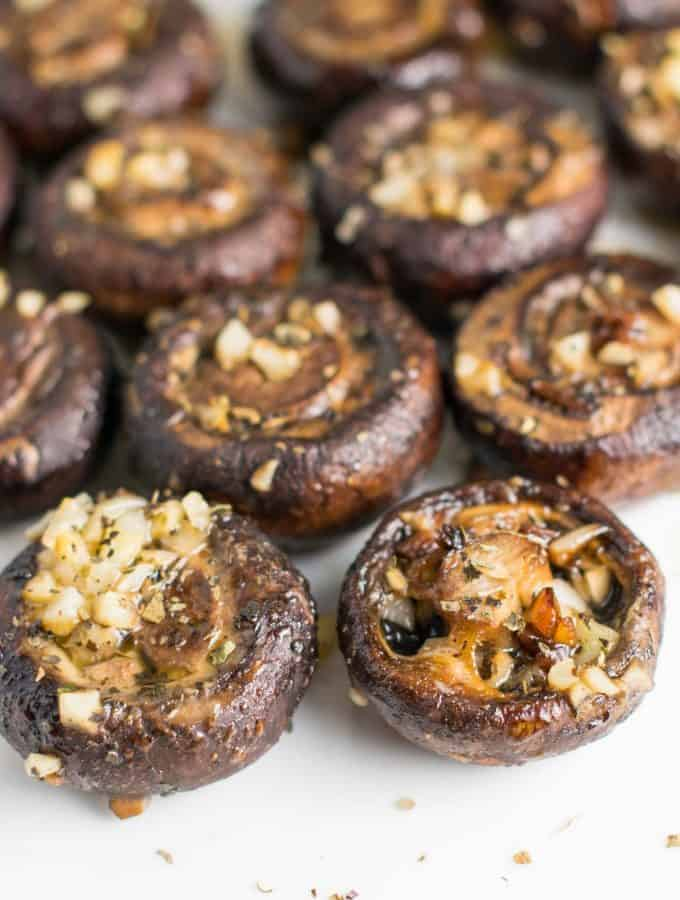 Roasted Garlic Butter Mushrooms