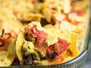 Easy Vegan Taco Bake Recipes - ready for the oven in just 5 minutes! This will be your new go to dinner for busy weeknights!